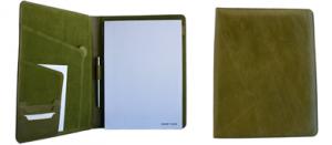 Schreibmappe aus grünem Leder